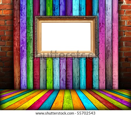 Blank Frame in Wooden Room - stock photo
