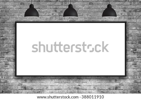 Blank frame on brick wall with lamp. nice brick show room with spotlights.  - stock photo