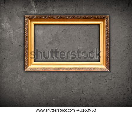 Blank Frame on Grungy Gray Wall
