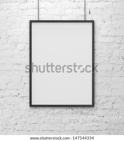 blank frame on white brick wall - stock photo