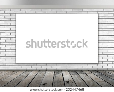 Blank frame on White brick wall and wood floor for information message - stock photo