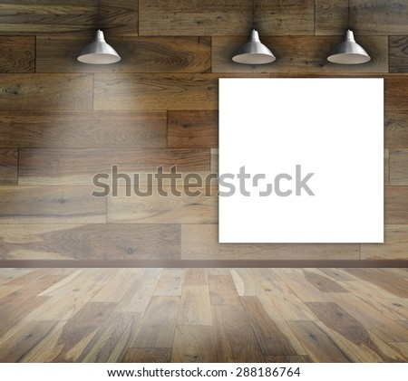 Blank frame on wood wall with Ceiling lamp - stock photo