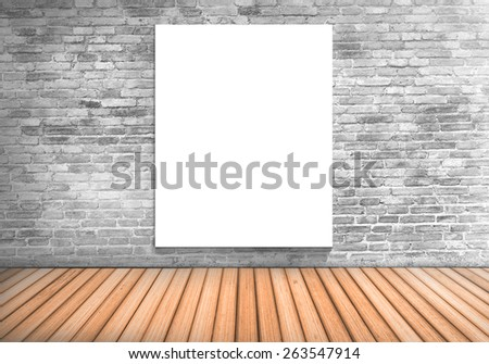 Blank frame white board on a concrete blick wall and wooden floor : fill text and object
