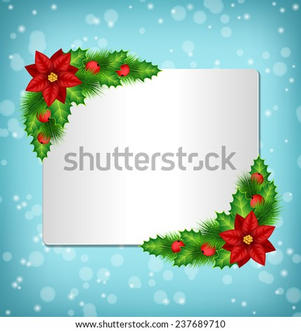 Blank frame with flower of poinsettia, holly sprigs and pine branches in snowfall on blue background - stock photo