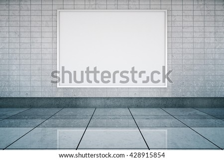 Blank framed banner in metro station interior with tile wall and floor. Mock up, 3D Rendering - stock photo
