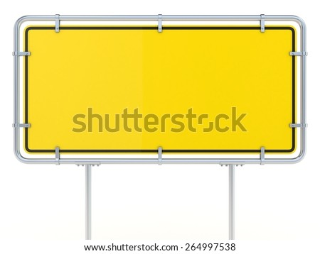 Blank framed traffic road sign standing. Twisted 3D render illustration isolated on white background - stock photo