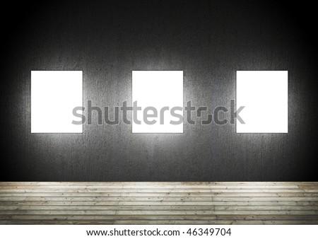 Blank frames in a dark room - stock photo