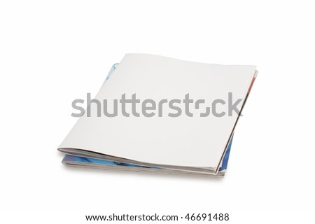 Blank front page magazine isolated on white background