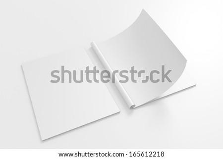 Blank full turn Magazine isolated on white with soft shadows - stock photo