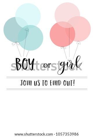 Blank gender reveal invitation template pink stock illustration blank gender reveal invitation template with pink and blue balloons stopboris Image collections