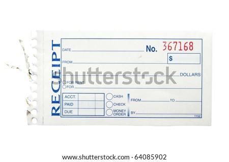 blank generic paper receipt on white stock photo royalty free
