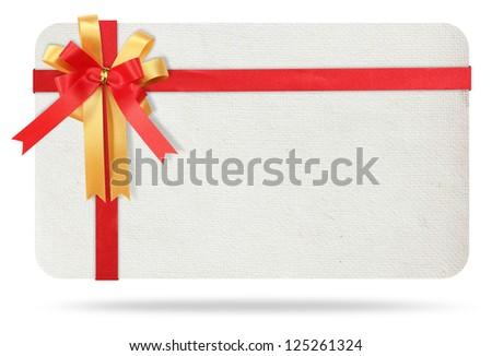 Blank gift card tied with a bow of red ribbon. Isolated on white, with save paths for design work - stock photo