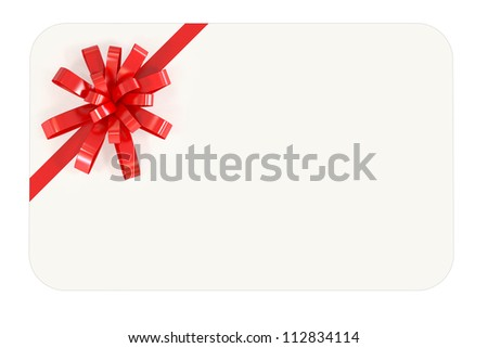 Blank Gift Card with red ribbon - Isolated on White