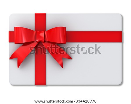 Blank gift card with red ribbons and bow isolated on white background with shadow - stock photo