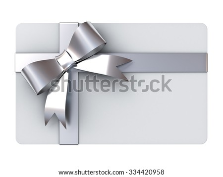 Blank gift card with silver ribbons and bow isolated on white background - stock photo