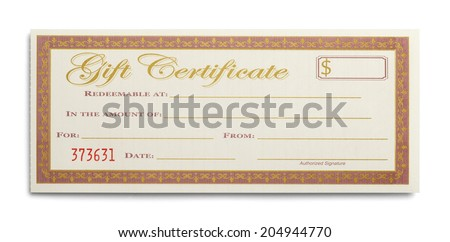 Blank Gift Certificate Isolated on White Background. - stock photo