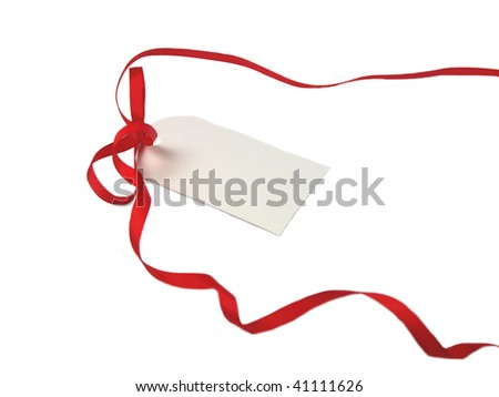 Blank gift tag with red bow on white background.