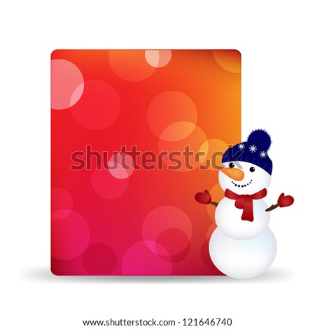 Blank Gift Tag With Snowman And Bokeh, Isolated On White Background