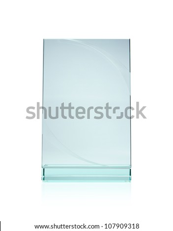 Blank glass plate award with copy space isolated on white background - stock photo