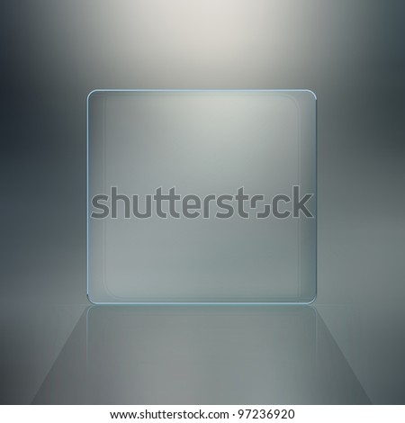 Blank glass plate background. Futuristic screen with copy space - stock photo