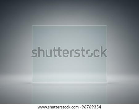 Blank glass plate on illuminated background - stock photo