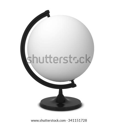 Blank globe. 3d illustration isolated on white background  - stock photo