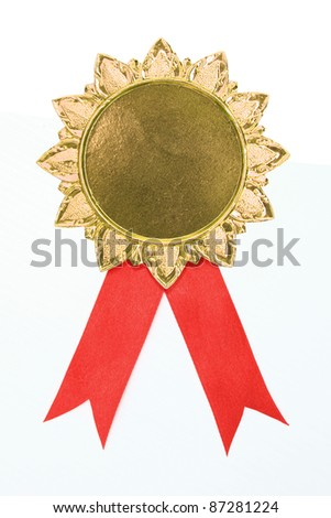 blank gold award ribbons on white(path in side) - stock photo