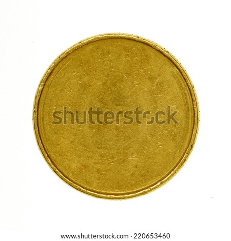 Blank gold coin isolated on white - stock photo