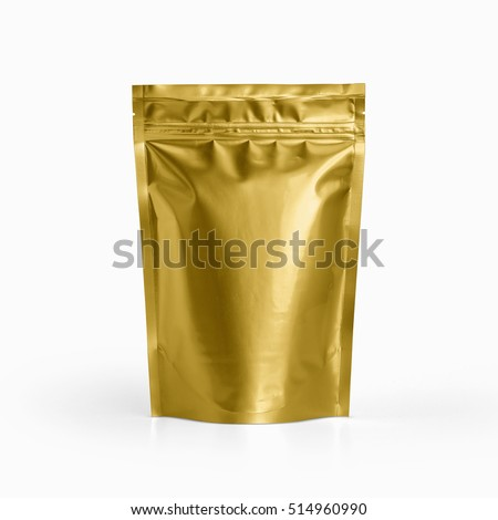 Blank Gold foil plastic pouch coffee bag isolated on white background. Packaging template mockup collection. With clipping Path included. Aluminium coffee package.