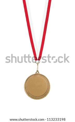 Blank gold medal isolated on white background - stock photo