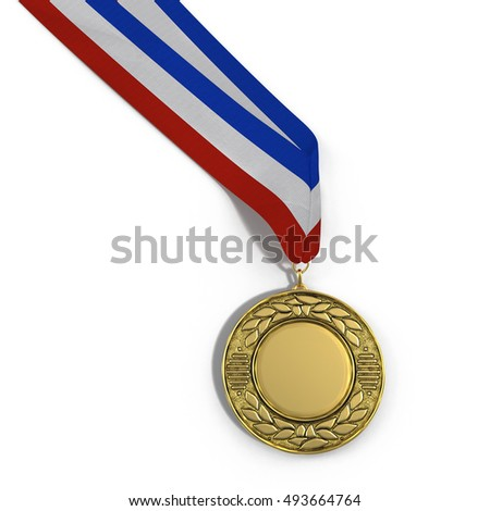 Blank gold medal isolated on white with copy space. 3D illustration