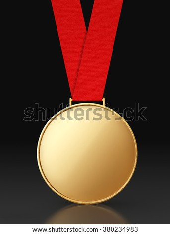 Blank Gold Medal with Red Ribbon on a black background