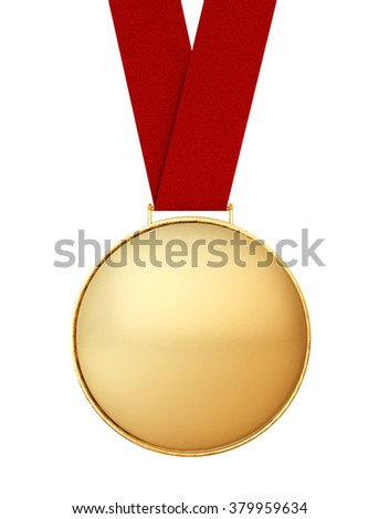 Blank Gold Medal with Red Ribbon on a white background