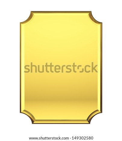 Blank Gold plate - stock photo