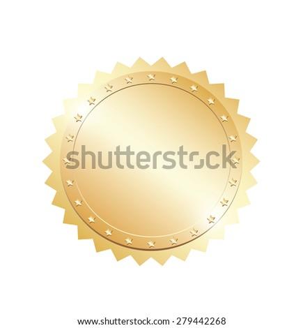 Blank gold token - stock photo