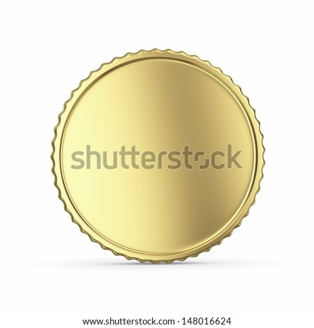 Blank golden medal 3D render - isolated with clipping path - stock photo