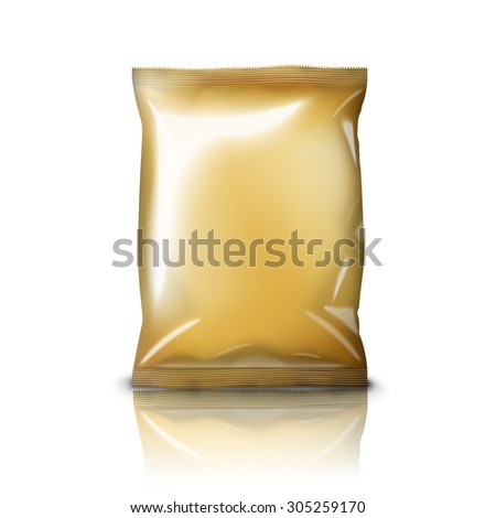 Blank golden realistic foil snack pack isolated on white background with reflection and place for your design and branding.  - stock photo