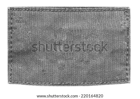 blank gray fabric label on  white - stock photo