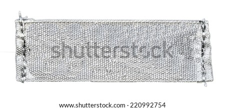 blank gray textile tag on white background  - stock photo
