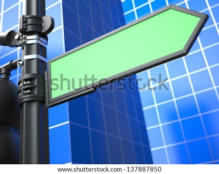 Blank Green Arrow Raodsign on Blue Background for Your Advertisement. - stock photo