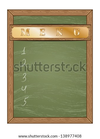 Blank green chalk board with gold table and wooden frame. - stock photo
