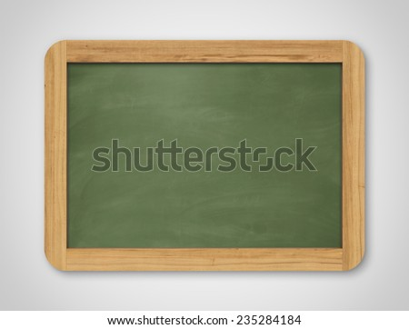 Blank green chalkboard. Background and texture. School board on gray background - stock photo