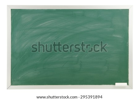 Blank green chalkboard isolated on white background - stock photo