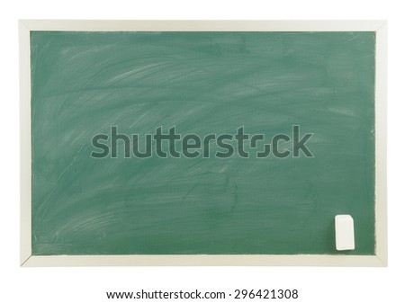 Blank green chalkboard with white chalk isolated - stock photo