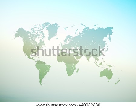 Blank Green Color Texture Political World Map. 3D rendering. Empty Concrete wall background. High textured row materials. Mockup ready for business information. Horizontal - stock photo