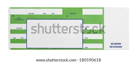 Blank Green Concert Performance Ticket Isolated on White Background. - stock photo