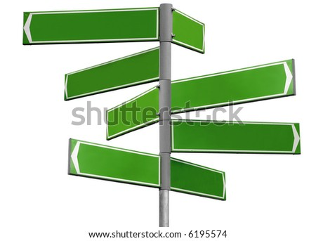 Blank green direction sign with 8 arrows (add your text) isolated on white