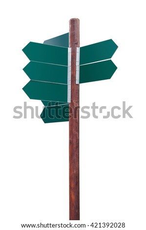 Blank green directional signs isolated on white background with clipping path
