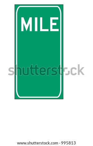 Blank Green double digit mileage sign isolated on a white background - stock photo