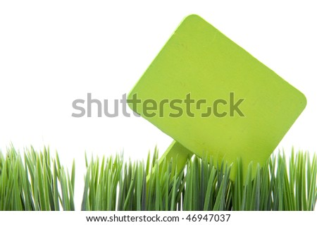 Blank green garden stake sign in fresh grass isolated on a white background.